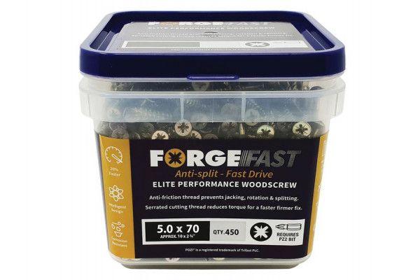 Forgefix ForgeFast Pozi® Compatible Elite Performance Wood Screw ZY 5.0 x 70mm Tub 450