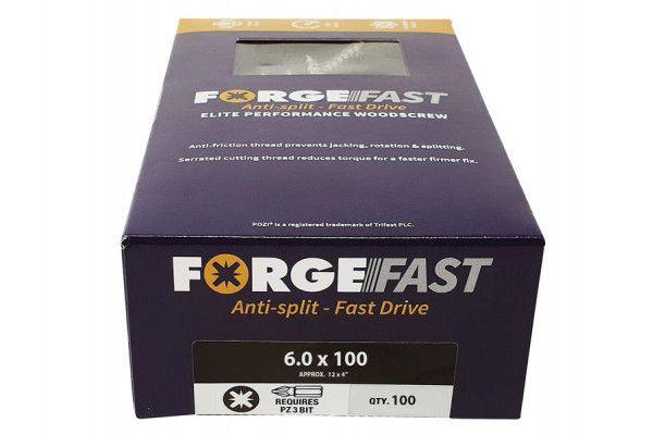 Forgefix ForgeFast Pozi® Compatible Elite Performance Wood Screw ZY 6.0 x 100mm Box 100