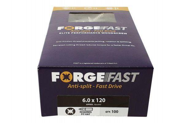 Forgefix ForgeFast Pozi® Compatible Elite Performance Wood Screw ZY 6.0 x 120mm Box 100
