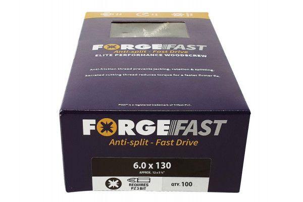 Forgefix ForgeFast Pozi® Compatible Elite Performance Wood Screw ZY 6.0 x 130mm Box 100
