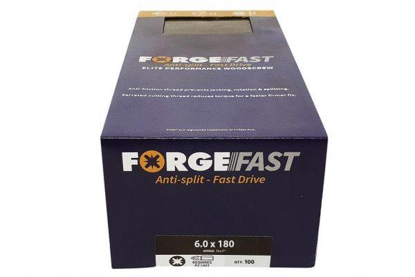 Forgefix ForgeFast Pozi® Compatible Elite Performance Wood Screw ZY 6.0 x 180mm Box 100