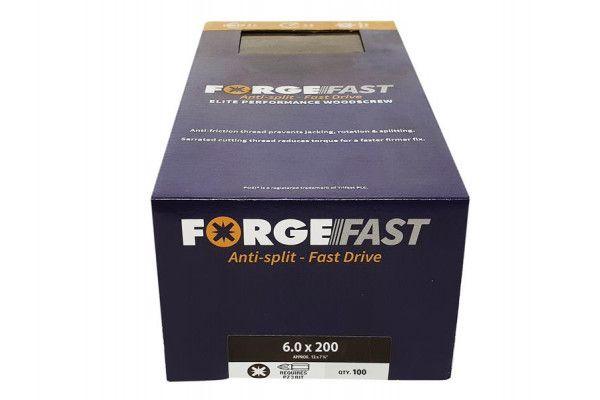 Forgefix ForgeFast Pozi® Compatible Elite Performance Wood Screw ZY 6.0 x 200mm Box 100