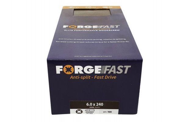 Forgefix ForgeFast Pozi® Compatible Elite Performance Wood Screw ZY 6.0 x 240mm Box 100