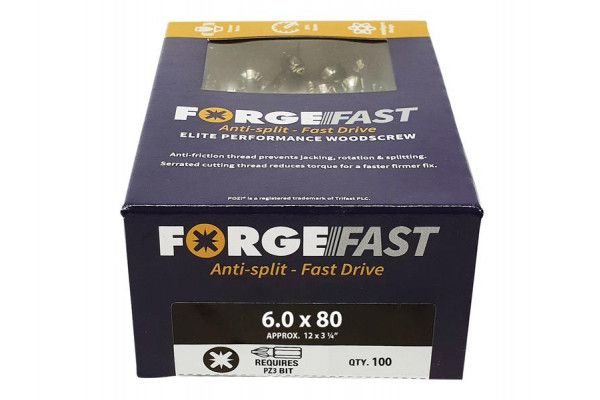 Forgefix ForgeFast Pozi® Compatible Elite Performance Wood Screw ZY 6.0 x 80mm Box 100