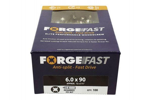 Forgefix ForgeFast Pozi® Compatible Elite Performance Wood Screw ZY 6.0 x 90mm Box 100