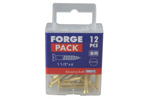 Forgefix Wood Screw Slotted CSK Brass 1.1/2in x 6 Forge Pack 12