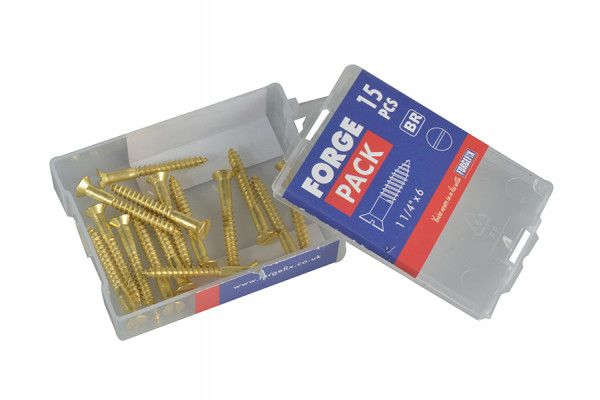 Forgefix Wood Screw Slotted CSK Brass 1.1/4in x 6 Forge Pack 15