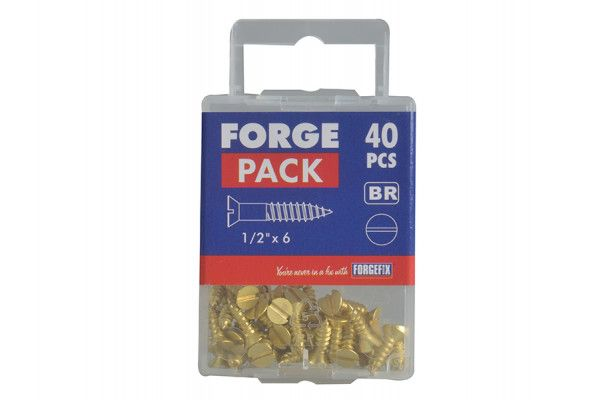 Forgefix Wood Screw Slotted CSK Brass 1/2in x 6 Forge Pack 40