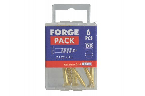 Forgefix Wood Screw Slotted CSK Brass 2.1/2in x 10 Forge Pack 6