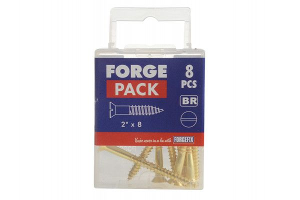 Forgefix Wood Screw Slotted CSK Brass 2in x 8 Forge Pack 8