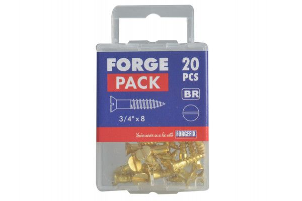 Forgefix Wood Screw Slotted CSK Brass 3/4in x 8 Forge Pack 20