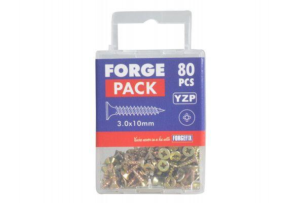 Forgefix Multi-Purpose Pozi Screw CSK ST ZYP 3.0 x 10mm Forge Pack 80