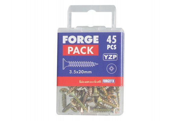 Forgefix Multi-Purpose Pozi Screw CSK ST ZYP 3.5 x 20mm Forge Pack 45