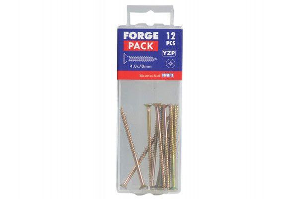 Forgefix Multi-Purpose Pozi Screw CSK ST ZYP 4.0 x 70mm Forge Pack 12