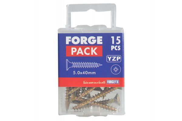 Forgefix Multi-Purpose Pozi Screw CSK ST ZYP 5.0 x 40mm Forge Pack 15