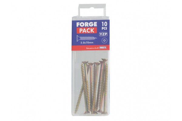 Forgefix Multi-Purpose Pozi Screw CSK ST ZYP 5.0 x 70mm Forge Pack 10