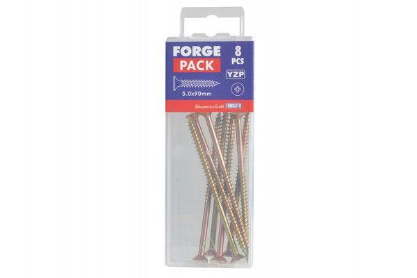 Forgefix Multi-Purpose Pozi Screw CSK ST ZYP 5.0 x 90mm Forge Pack 8