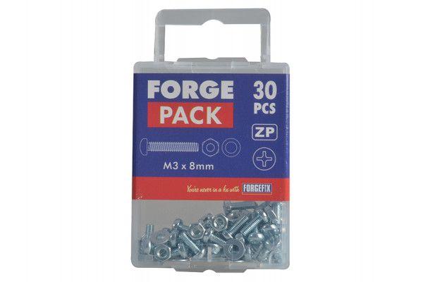 Forgefix Machine Screw Pozi Pan Head ZP M3 x 8mm Forge Pack 30