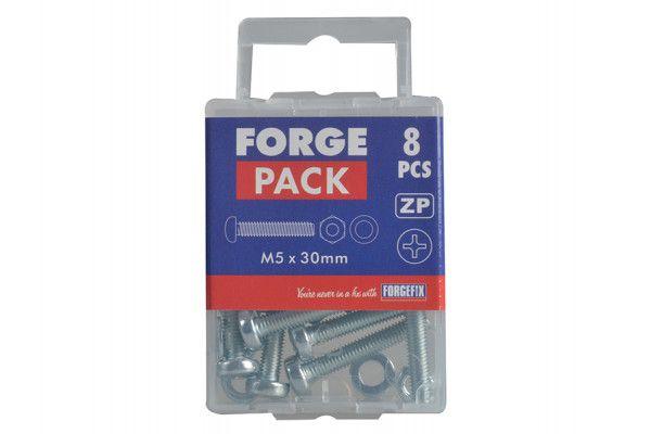 Forgefix Machine Screw Pozi Pan Head ZP M5 x 30mm Forge Pack 8