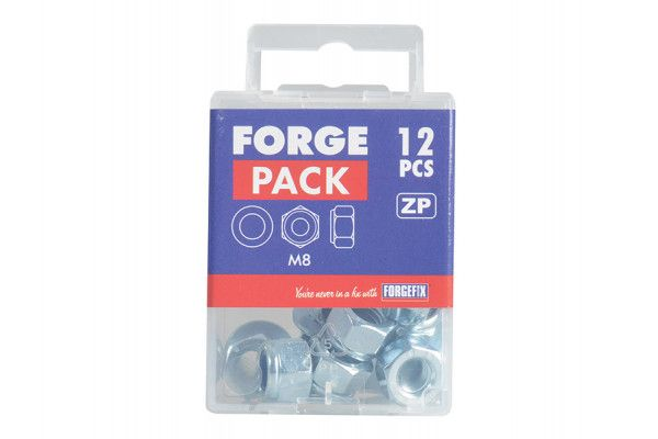 Forgefix Nyloc Nuts & Washers Zinc Plated M8 Forge Pack 12