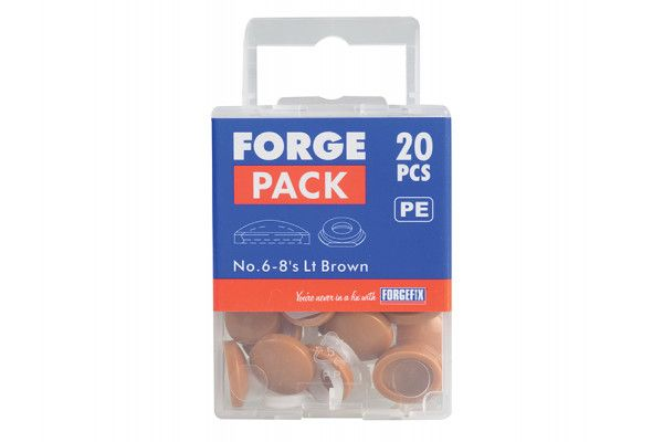 Forgefix Domed Cover Cap Light Brown No. 6-8 Forge Pack 20