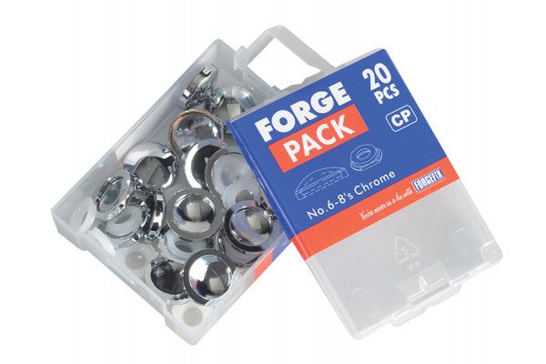 Forgefix Domed Cover Cap Chrome No. 6-8 Forge Pack 20