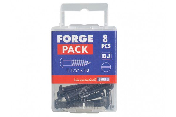 Forgefix Wood Screw Slotted Round Head ST Black Japanned 1.1/2in x 10 Forge Pack 8