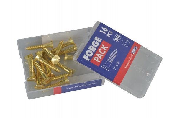 Forgefix Wood Screw Slotted Raised Head ST Solid Brass 1in x 8 Forge Pack 16