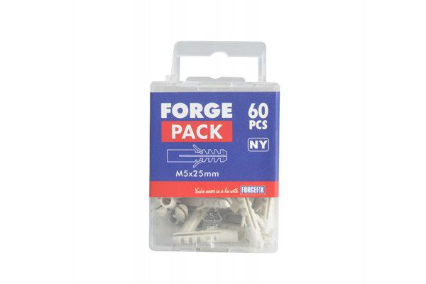 Forgefix Nylon Expansion Wall Plug Rimless M5 x 25mm Forge Pack 60