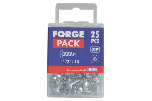 Forgefix Self-Tapping Screw Pozi Pan Head ZP 1/2in x 10 Forge Pack 25