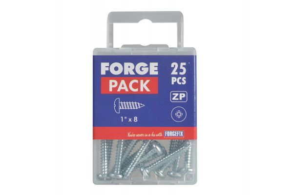 Forgefix Self-Tapping Screw Pozi Pan Head ZP 1in x 8 Forge Pack 25
