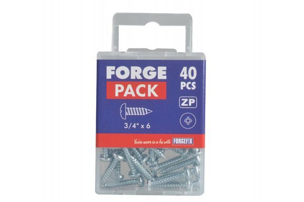 Forgefix Self-Tapping Screw Pozi Pan Head ZP 3/4in x 6 Forge Pack 40