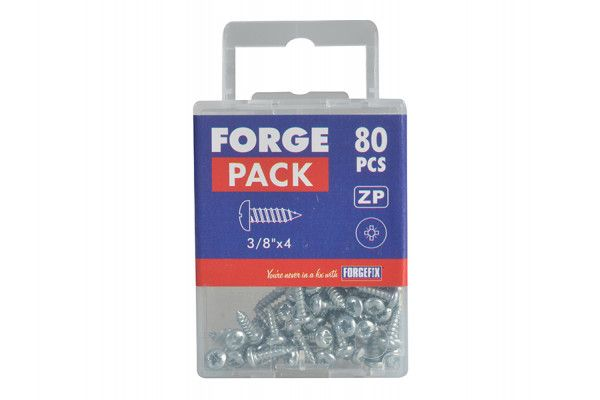 Forgefix Self-Tapping Screw Pozi Pan Head ZP 3/8in x 4 Forge Pack 80