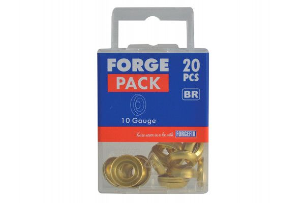 Forgefix Screw Cup Washers Brass No.10 Forge Pack 20