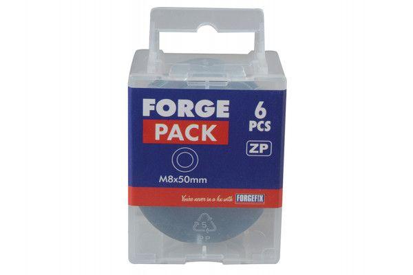 Forgefix Flat Mudguard Washers ZP M8 x 50mm Forge Pack 6
