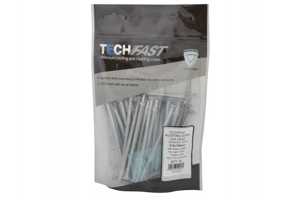 Forgefix TechFast Roofing Screw Timber - Steel Light Section 5.5 x 109mm Pack 50