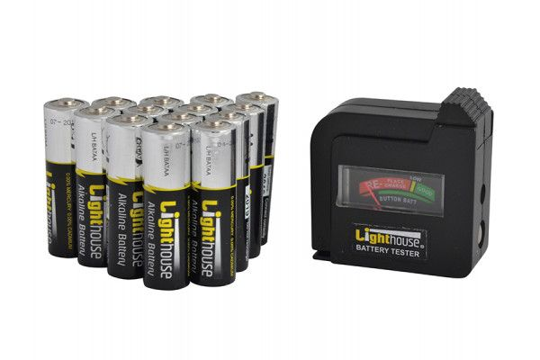 Lighthouse AA Batteries Bulk Pack (14) + Tester