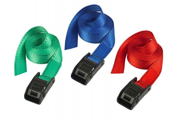 Master Lock Lashing Straps with Metal Buckle Coloured 5m 150kg 2 Piece
