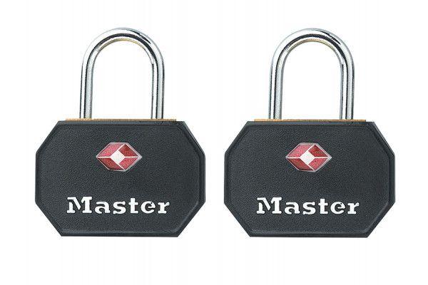 Master Lock Aluminium 30mm Padlocks Black ABS Cover -Keyed Alike x 2