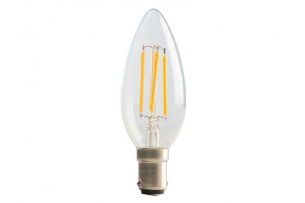Masterplug LED Candle Clear Filament Bulb B15 (SBC) Non-Dimmable 250 Lumen 2 Watt 2700K