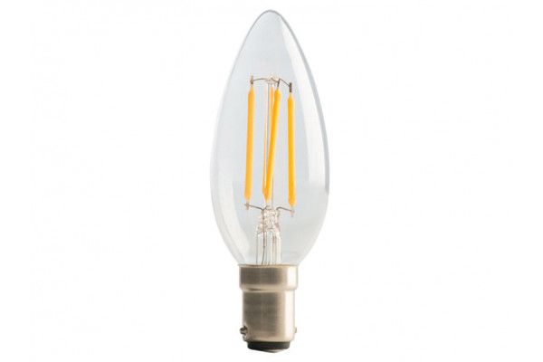 Masterplug, LED Candle Clear Filament Bulb Non-Dimmable