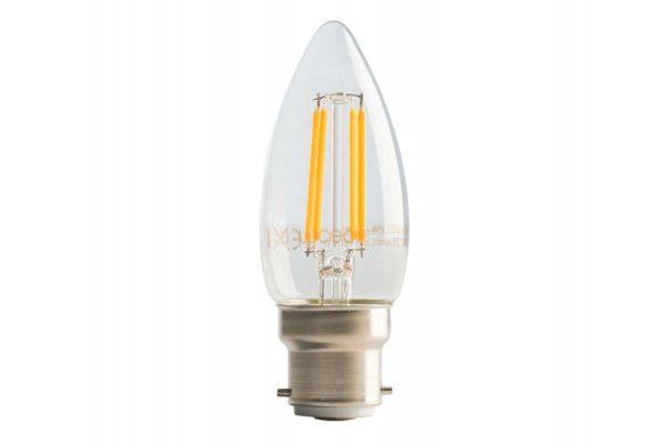 Masterplug LED Candle Clear Filament Bulb B22 (BC) Non-Dimmable 470 Lumen 4 Watt 2700K