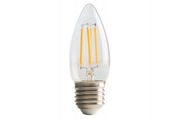 Masterplug LED Candle Clear Filament Bulb E27 (ES) Non-Dimmable 470 Lumen 4 Watt 2700K