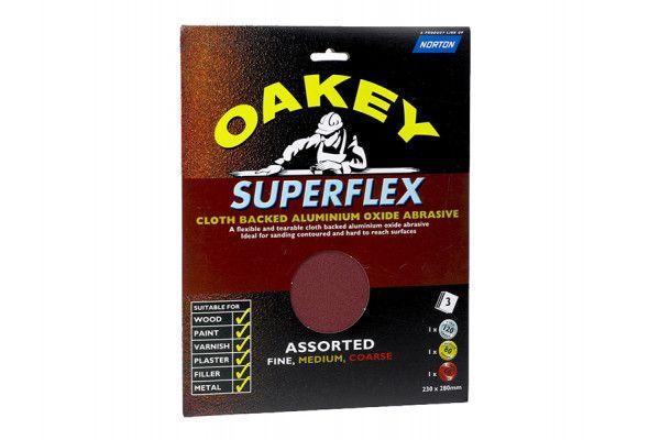Oakey Cloth Backed Aluminium Oxide Sheets 230 x 280mm Assorted (3)