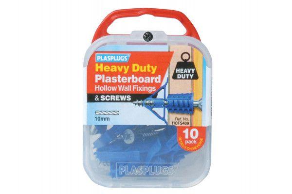 Plasplugs HCFS 409 Heavy-Duty Plasterboard Fixings & Screws Pack of 10