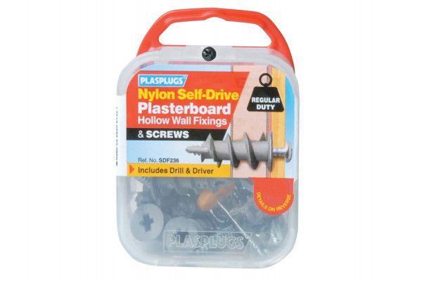Plasplugs SDF 235 Nylon Self-Drill Fixings & Screws Pack of 5