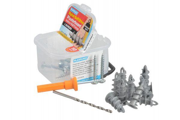 Plasplugs SDF 236 Nylon Self-Drill Fixings & Screws Pack of 10