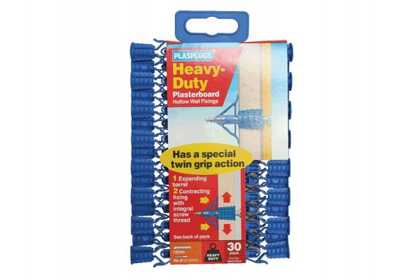 Plasplugs HCF 553 Heavy-Duty Plasterboard Fixings Pack of 30