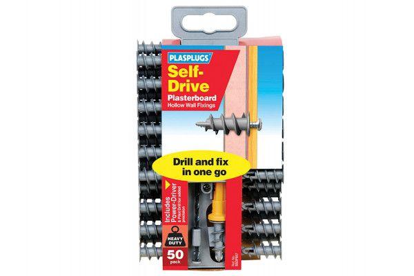 Plasplugs SSDF 557 Nylon Self-Drill Fixings Driver & Drill Pack of 50
