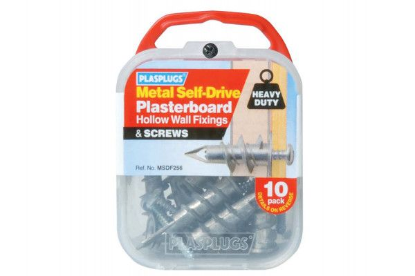 Plasplugs MSDF 256 Metal Self-Drill Fixings & Screws Pack of 10